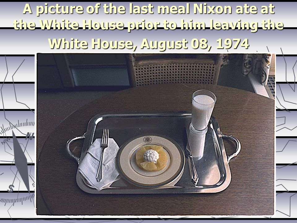 A picture of the last meal Nixon ate at the White House prior to him leaving the White House, August 08, 1974