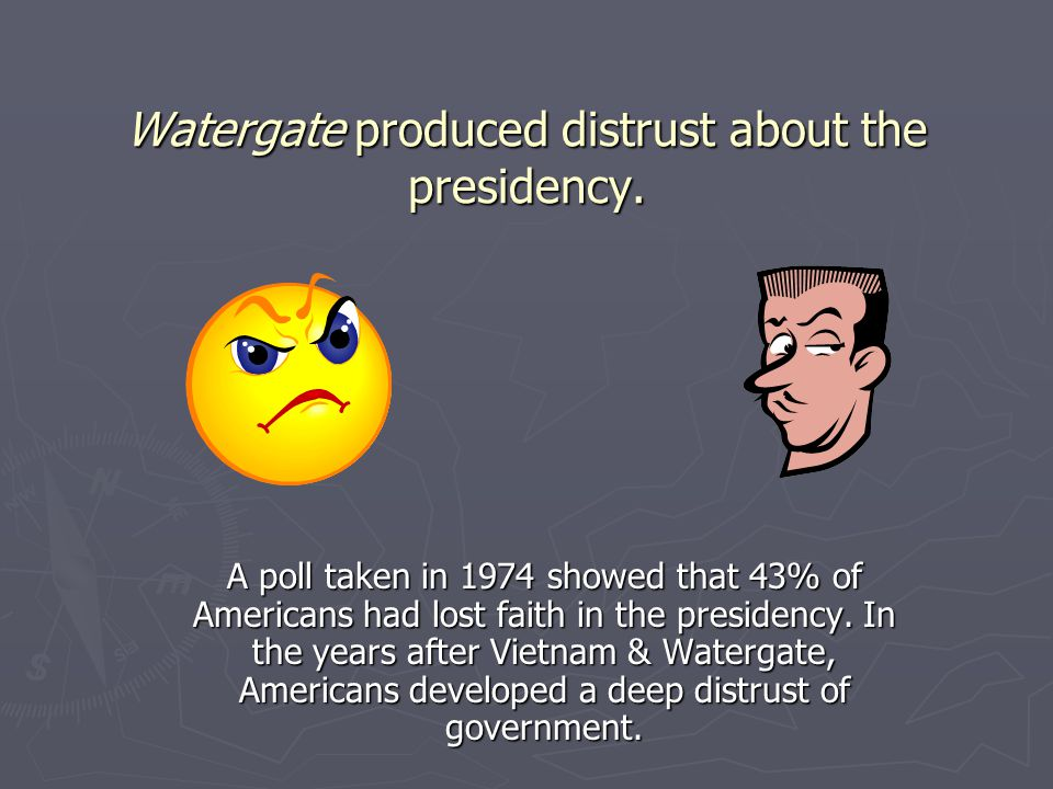 Watergate produced distrust about the presidency.