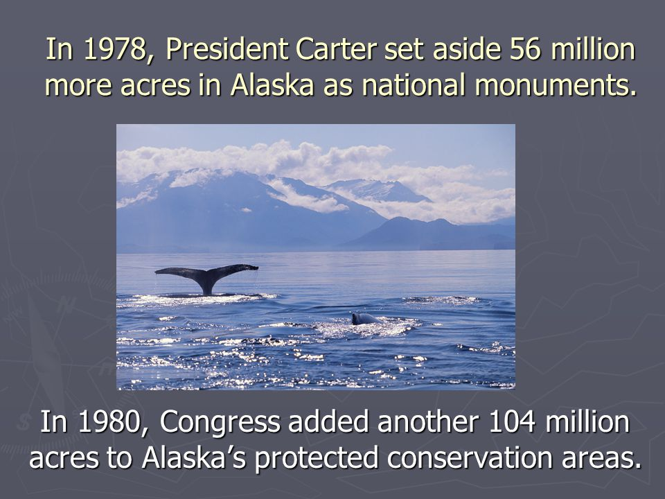 In 1978, President Carter set aside 56 million more acres in Alaska as national monuments.