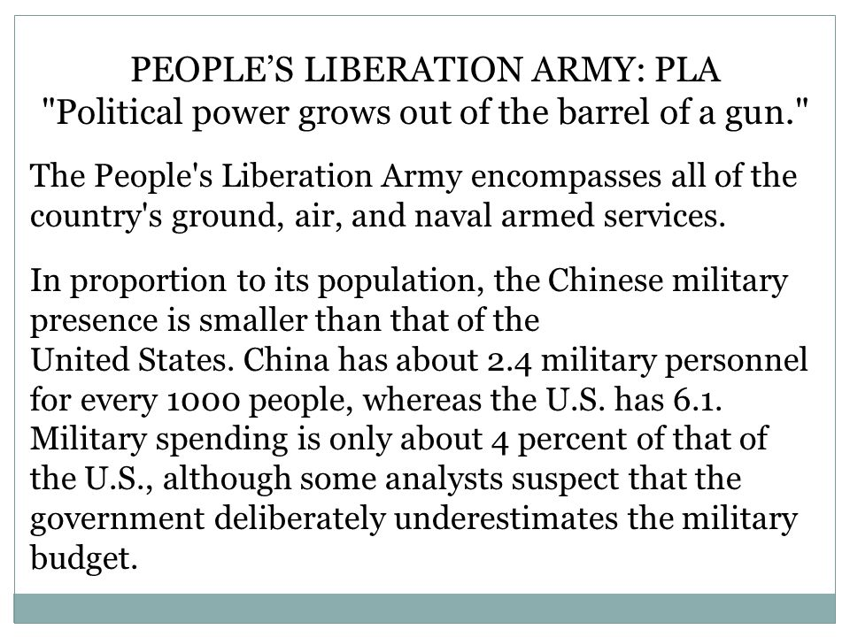 PEOPLE'S LIBERATION ARMY: PLA