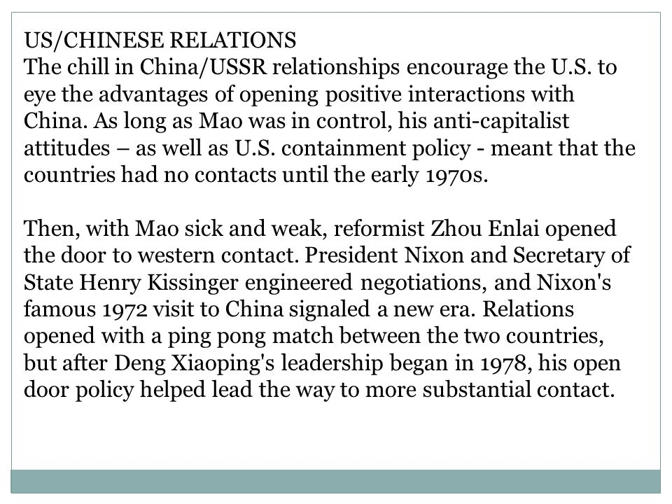 US/CHINESE RELATIONS