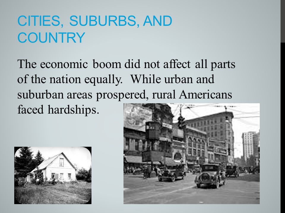 Cities, suburbs, and country