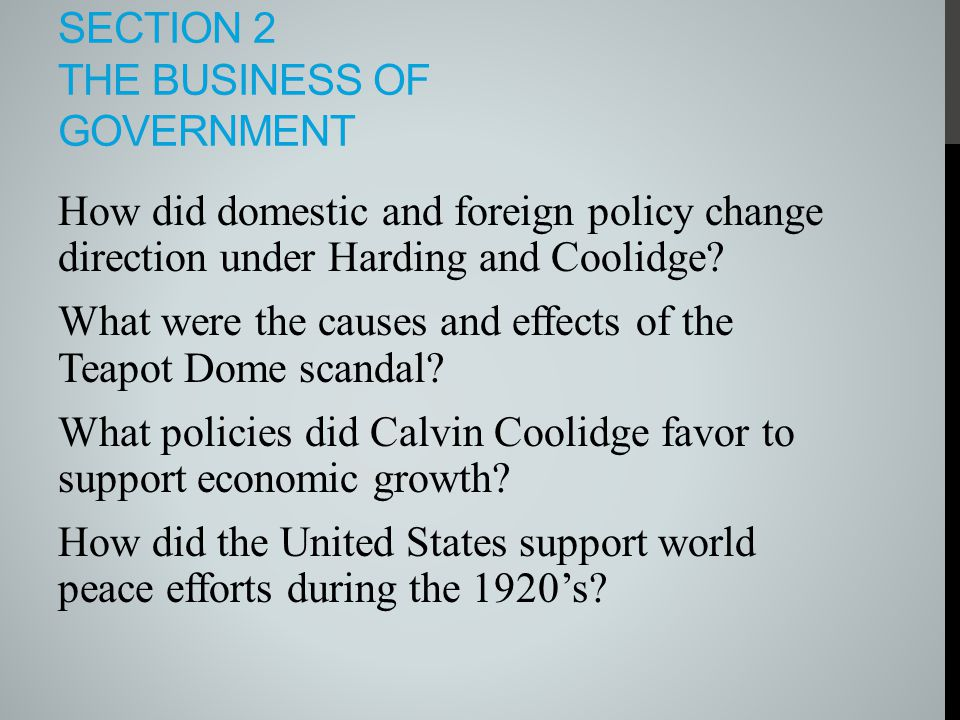 Section 2 The business of Government