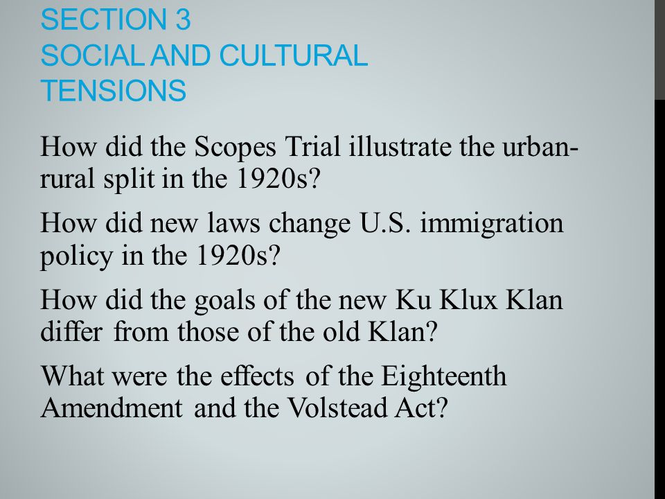 Section 3 Social and Cultural tensions