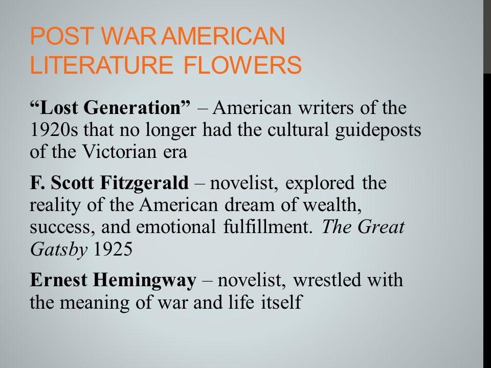 Post war American literature flowers