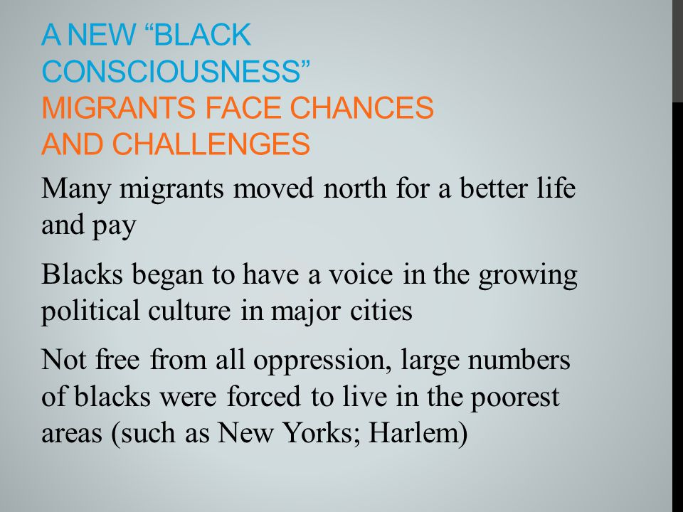 A new Black Consciousness Migrants Face Chances and Challenges