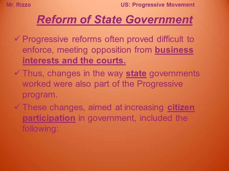 Reform of State Government