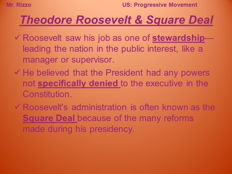 Theodore Roosevelt & Square Deal