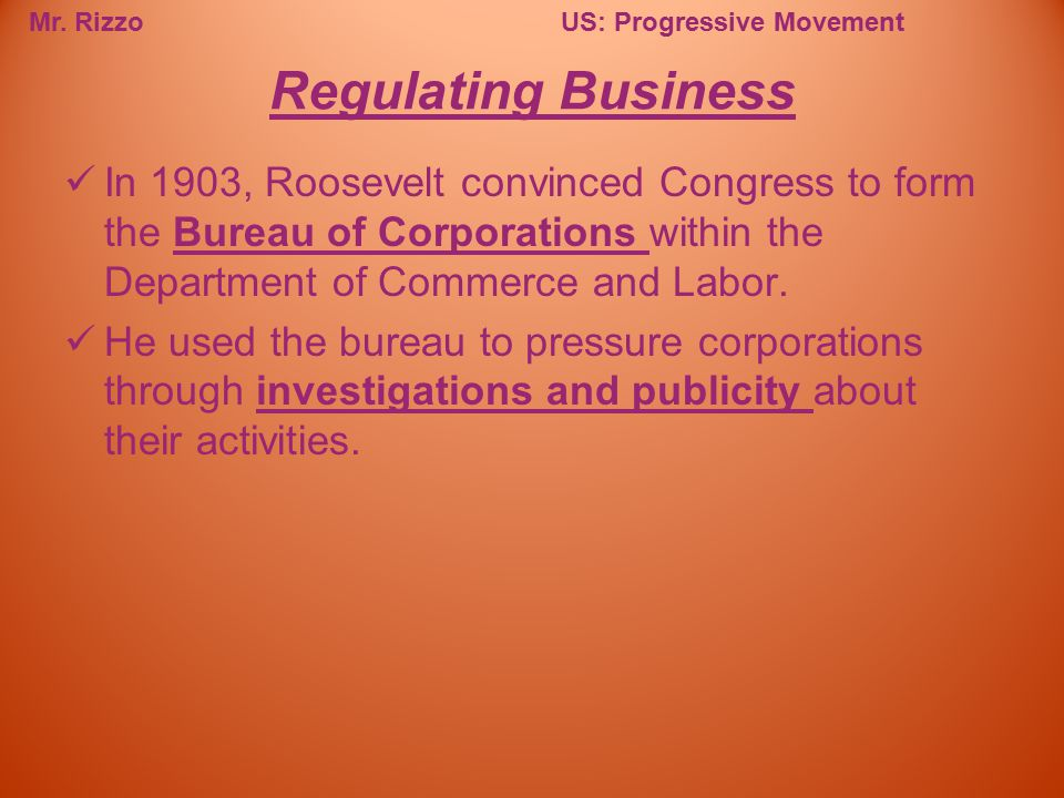 Regulating Business In 1903, Roosevelt convinced Congress to form the Bureau of Corporations within the Department of Commerce and Labor.