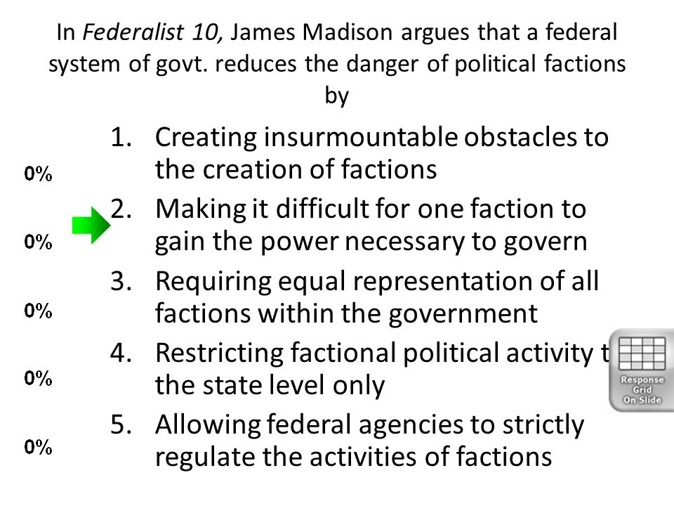 Creating insurmountable obstacles to the creation of factions