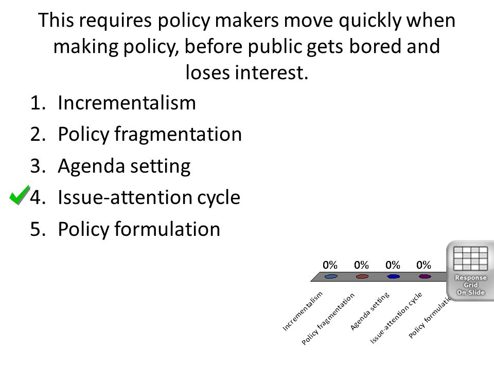 This requires policy makers move quickly when making policy, before public gets bored and loses interest.