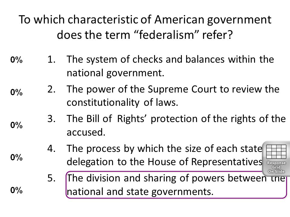 To which characteristic of American government does the term federalism refer