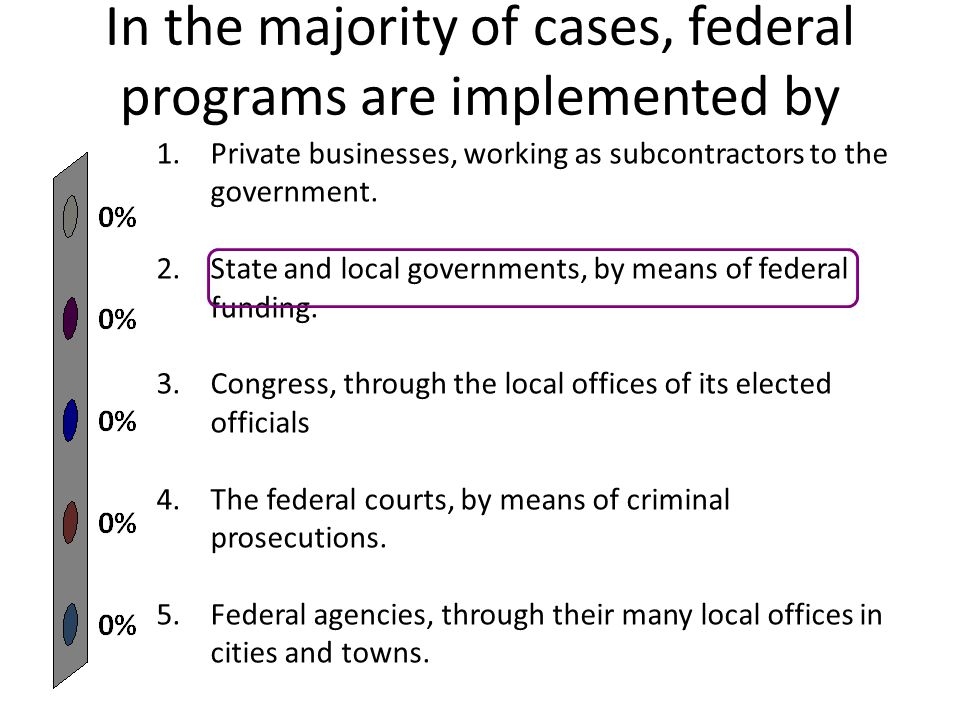 In the majority of cases, federal programs are implemented by