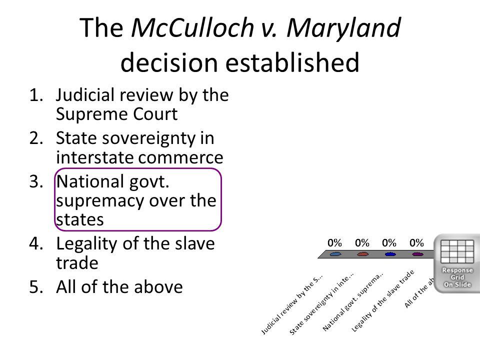 The McCulloch v. Maryland decision established