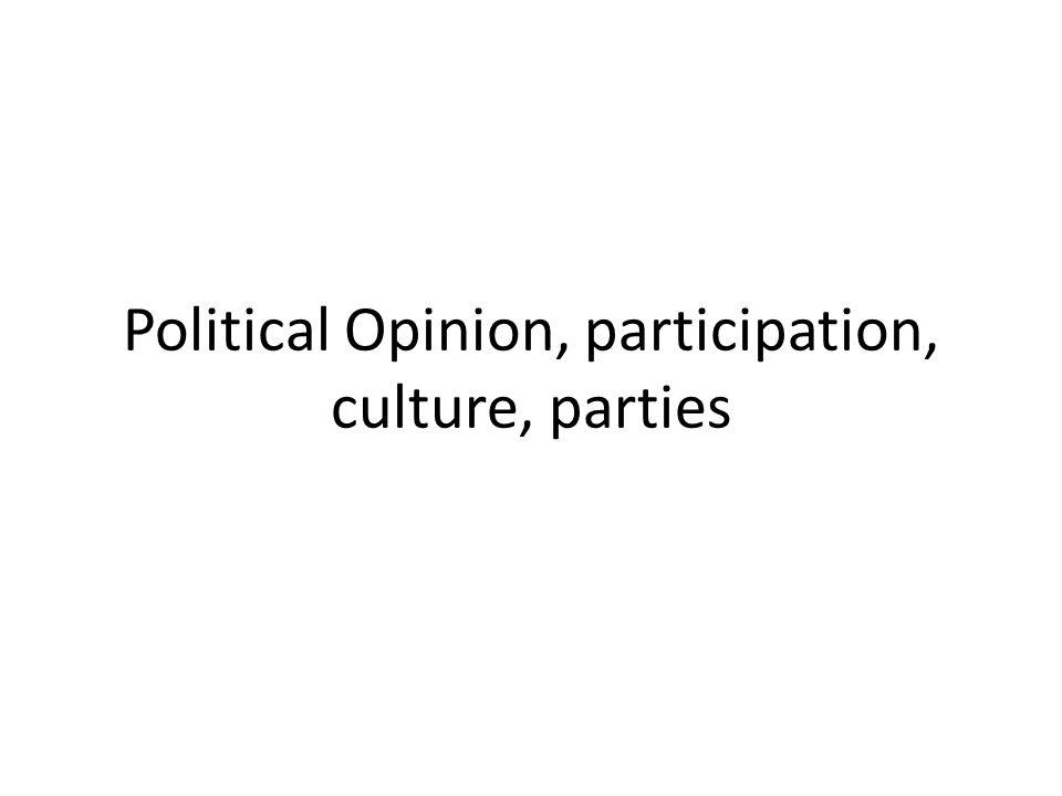 Political Opinion, participation, culture, parties