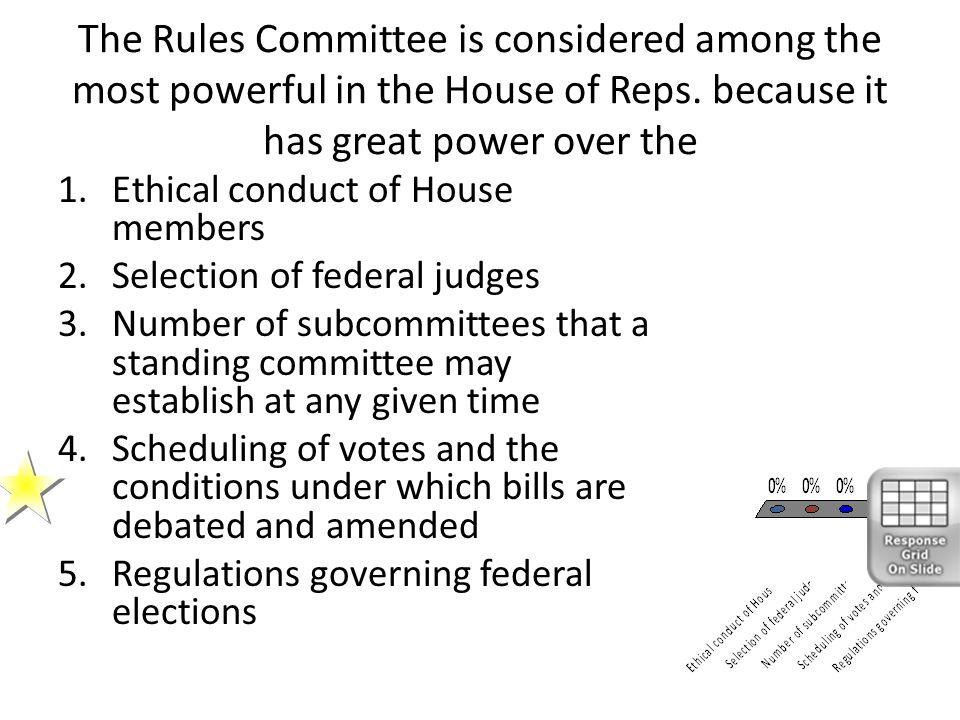The Rules Committee is considered among the most powerful in the House of Reps. because it has great power over the