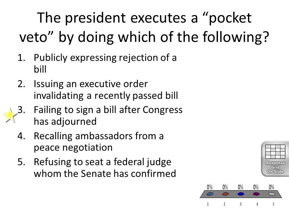 The president executes a pocket veto by doing which of the following