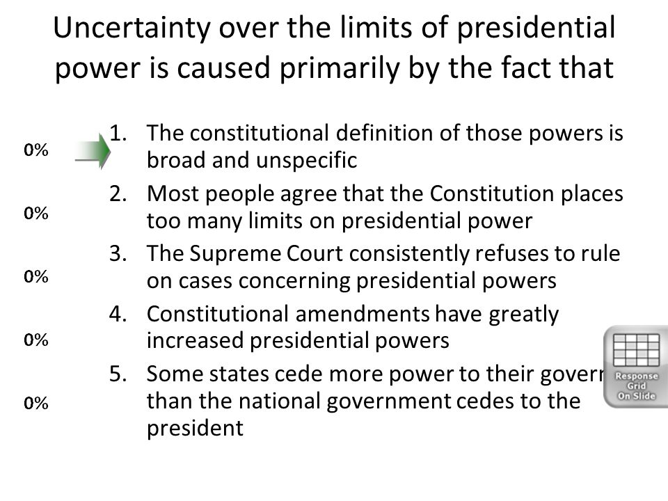 Uncertainty over the limits of presidential power is caused primarily by the fact that