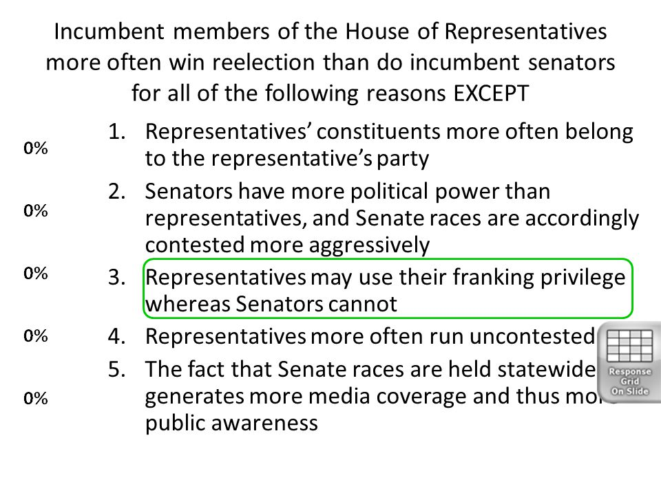 Incumbent members of the House of Representatives more often win reelection than do incumbent senators for all of the following reasons EXCEPT