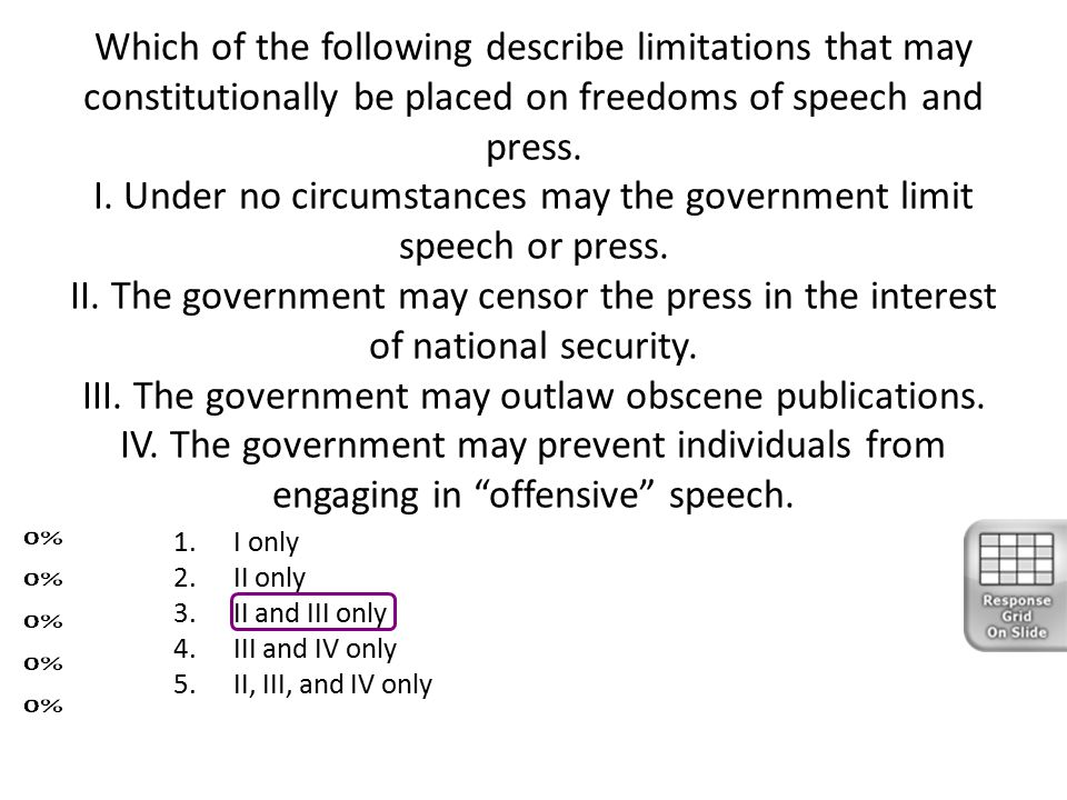 Which of the following describe limitations that may constitutionally be placed on freedoms of speech and press. I. Under no circumstances may the government limit speech or press. II. The government may censor the press in the interest of national security. III. The government may outlaw obscene publications. IV. The government may prevent individuals from engaging in offensive speech.