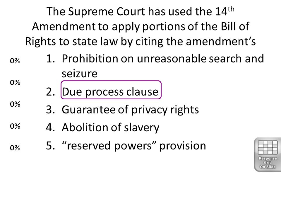The Supreme Court has used the 14th Amendment to apply portions of the Bill of Rights to state law by citing the amendment's