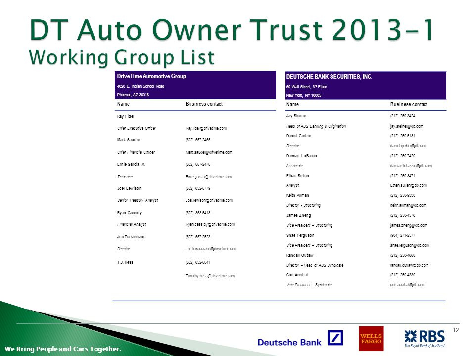 DT Auto Owner Trust 2013-1 Working Group List