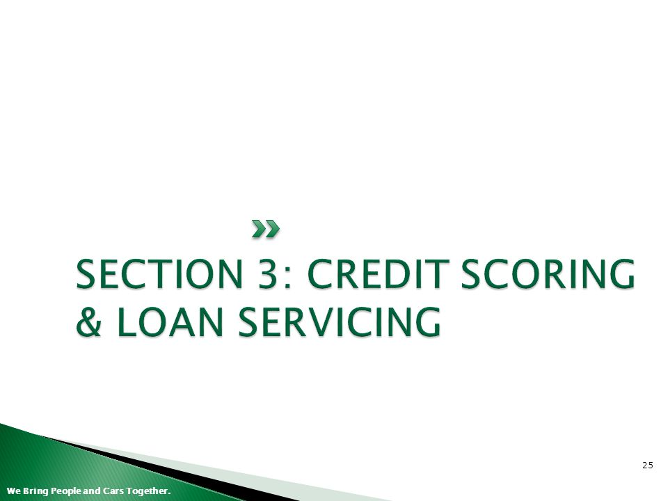 SECTION 3: CREDIT SCORING & LOAN SERVICING
