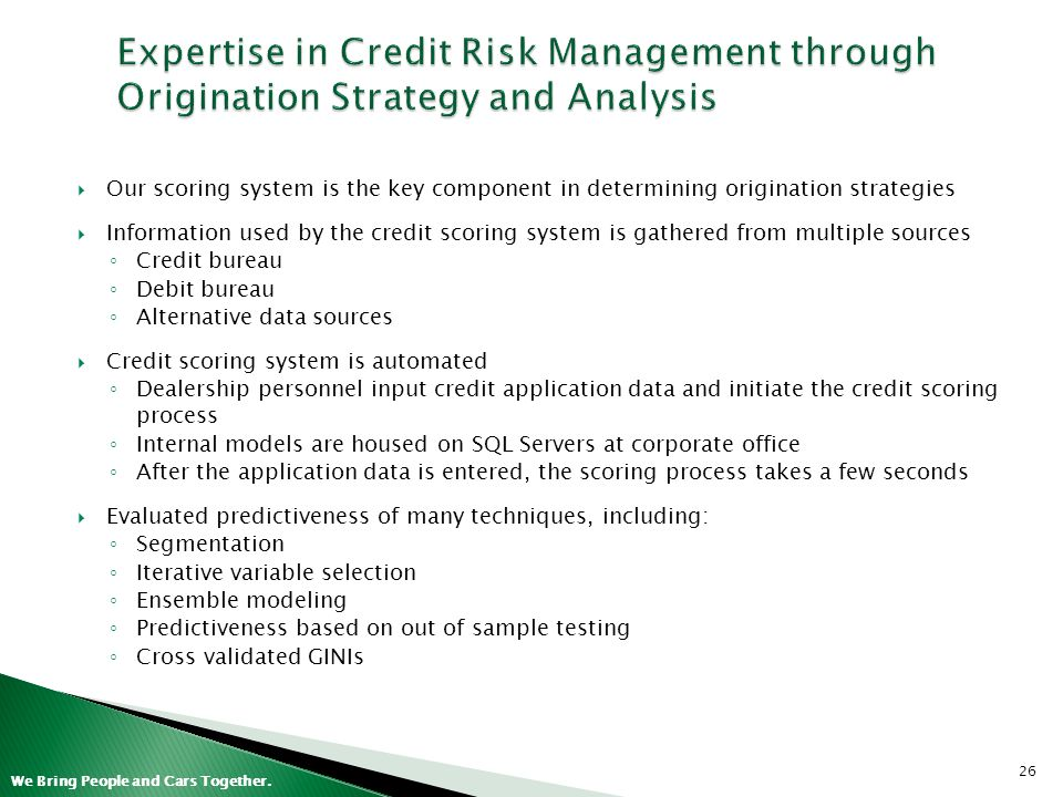 Expertise in Credit Risk Management through Origination Strategy and Analysis