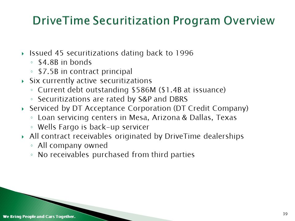 DriveTime Securitization Program Overview
