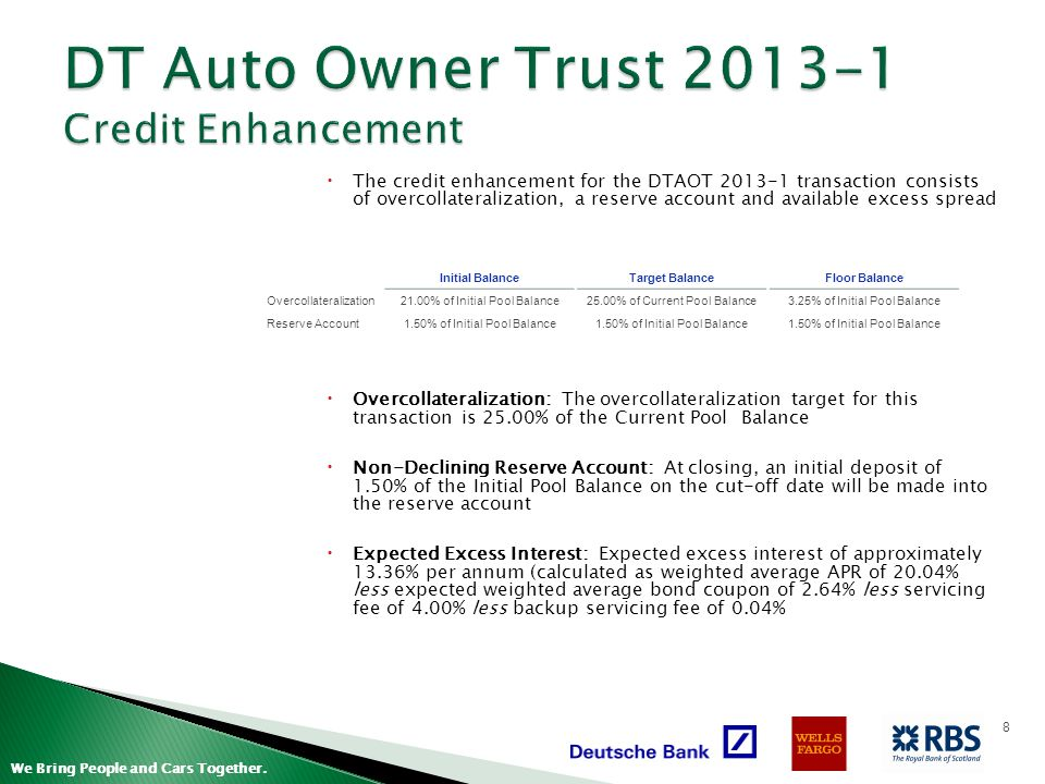 DT Auto Owner Trust 2013-1 Credit Enhancement