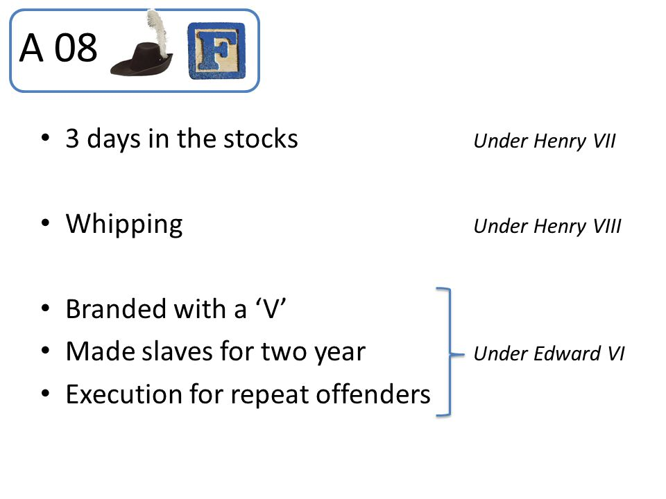 A 08 3 days in the stocks Under Henry VII Whipping Under Henry VIII