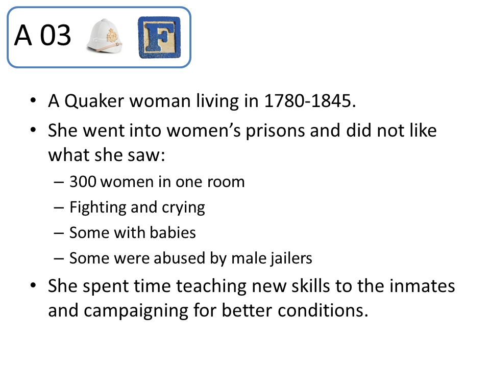 A 03 A Quaker woman living in 1780-1845.