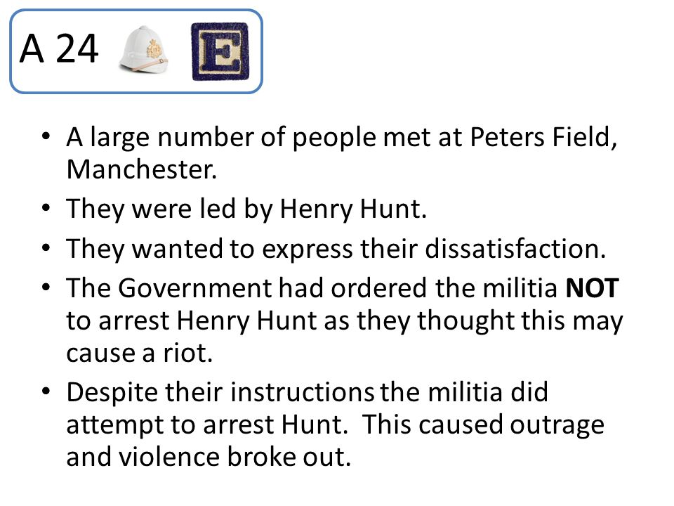 A 24 A large number of people met at Peters Field, Manchester.