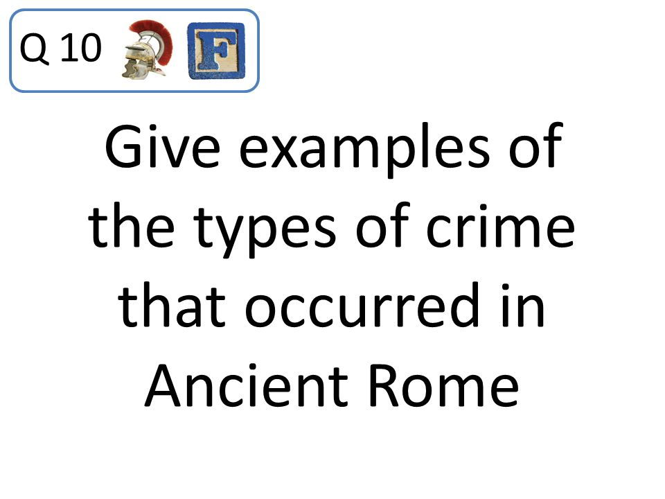 Give examples of the types of crime that occurred in Ancient Rome