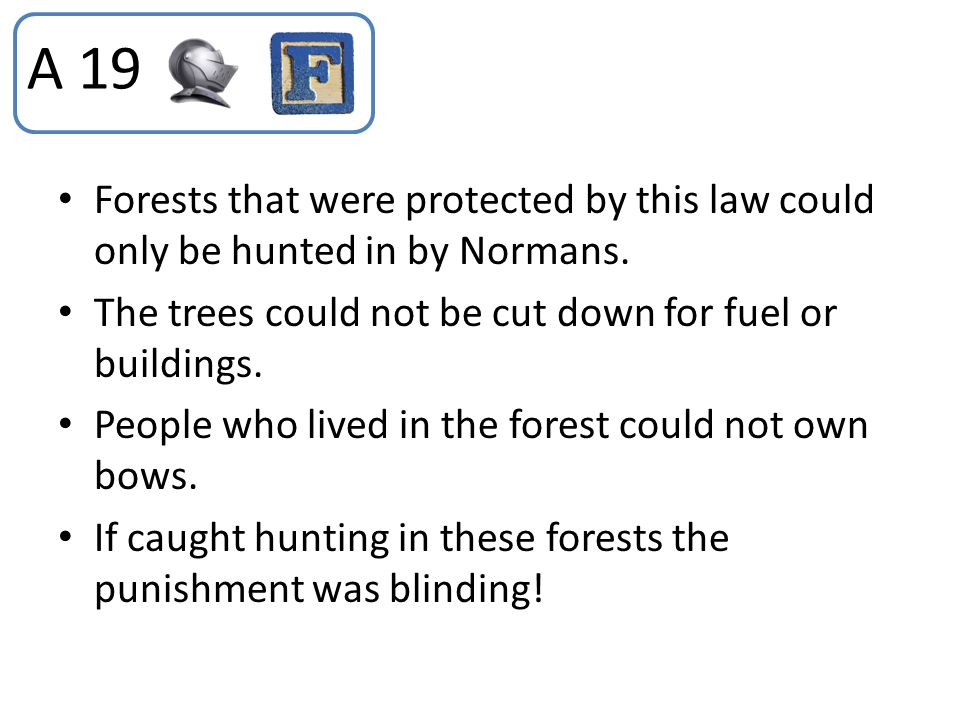 A 19 Forests that were protected by this law could only be hunted in by Normans. The trees could not be cut down for fuel or buildings.