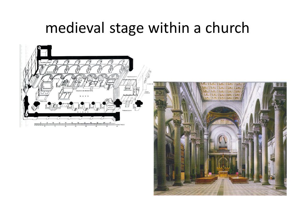 medieval stage within a church
