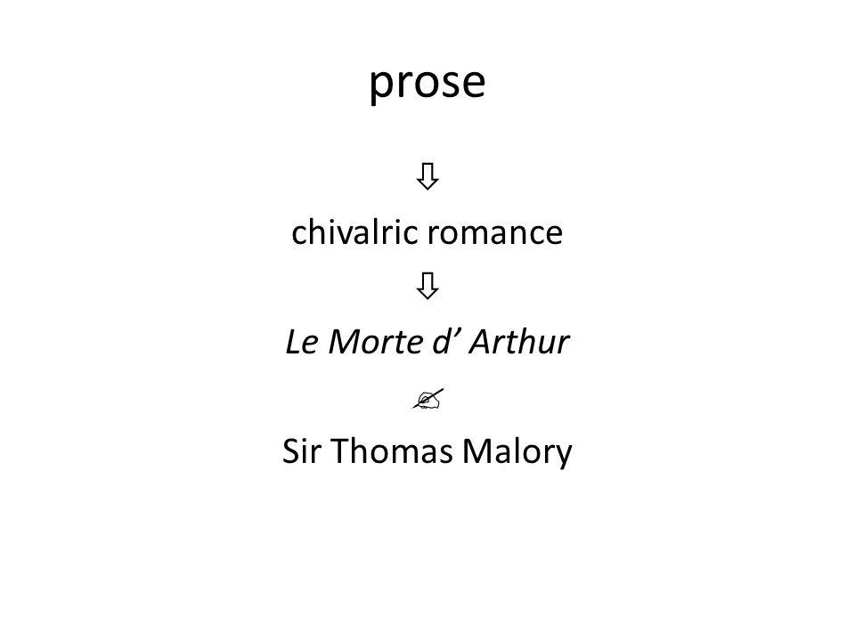  chivalric romance Le Morte d' Arthur  Sir Thomas Malory