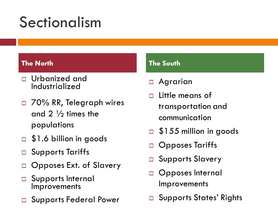 Sectionalism Urbanized and Industrialized