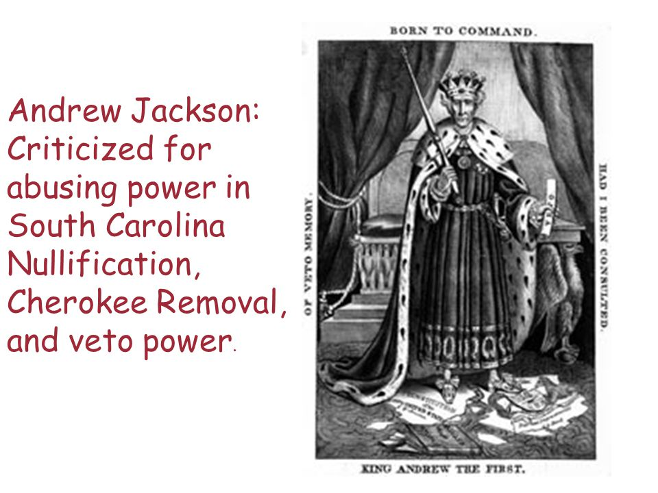Andrew Jackson: Criticized for abusing power in South Carolina Nullification, Cherokee Removal, and veto power.