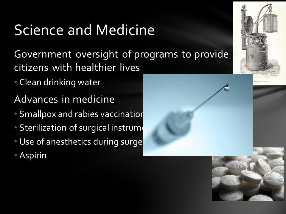 Science and Medicine Government oversight of programs to provide citizens with healthier lives. Clean drinking water.