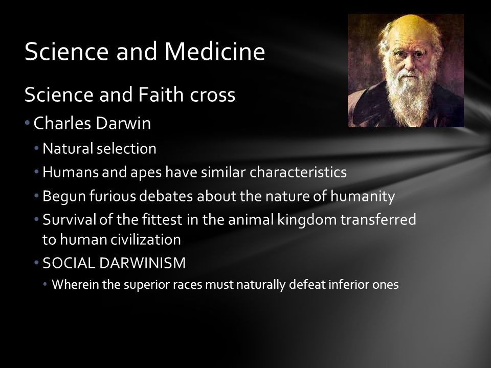 Science and Medicine Science and Faith cross Charles Darwin