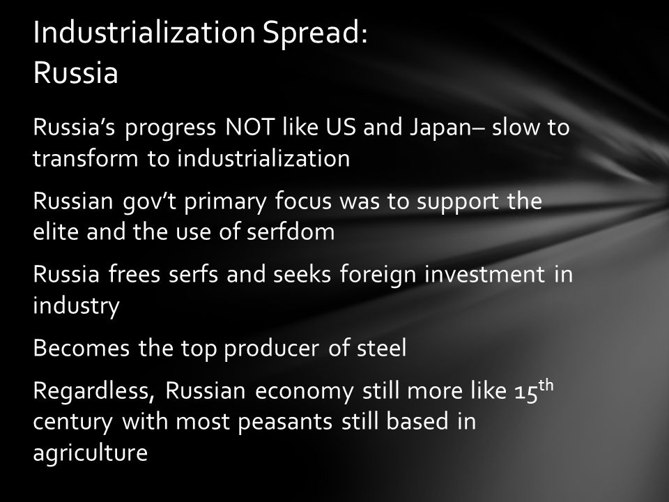 Industrialization Spread: Russia