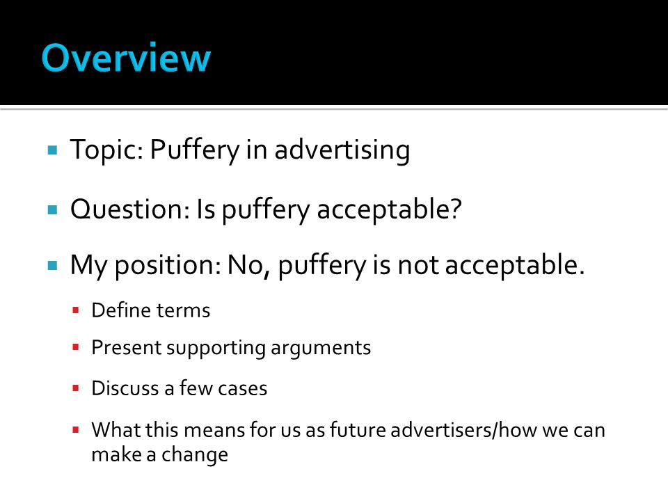Overview Topic: Puffery in advertising