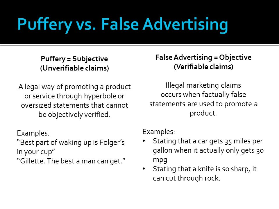 Puffery vs. False Advertising