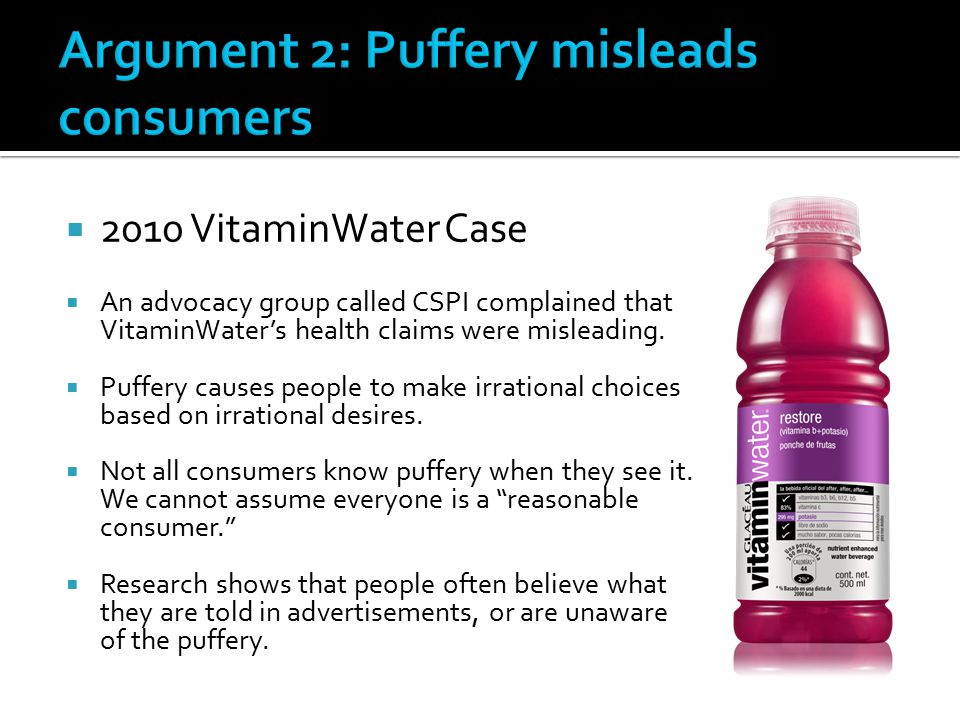 Argument 2: Puffery misleads consumers