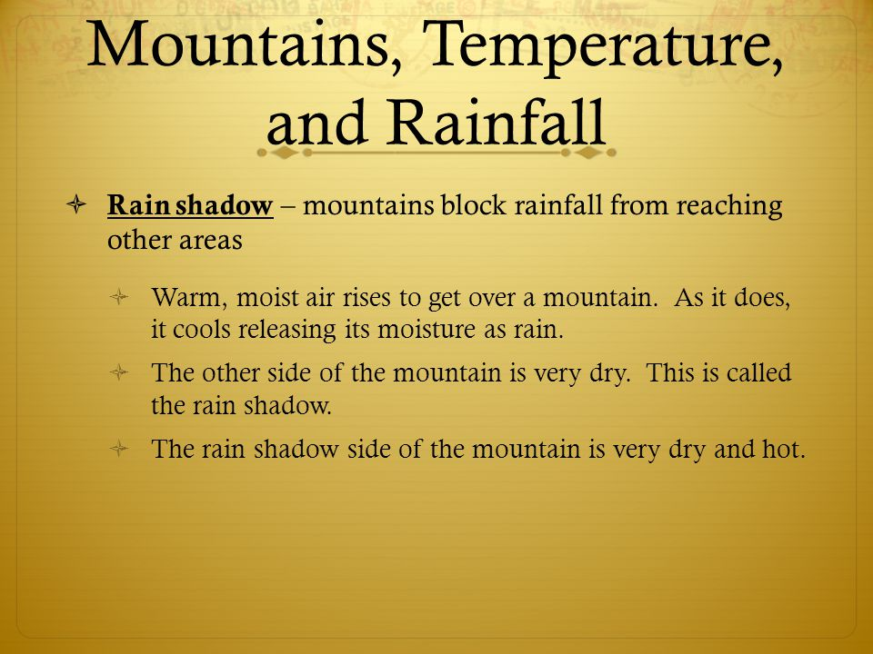 Mountains, Temperature, and Rainfall