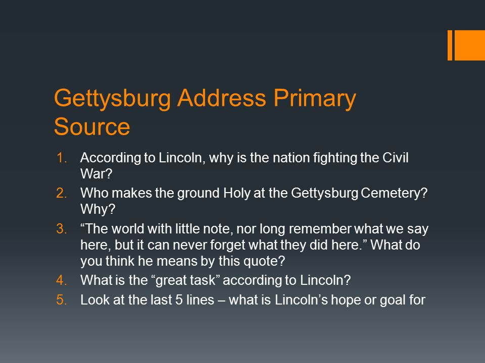 Gettysburg Address Primary Source