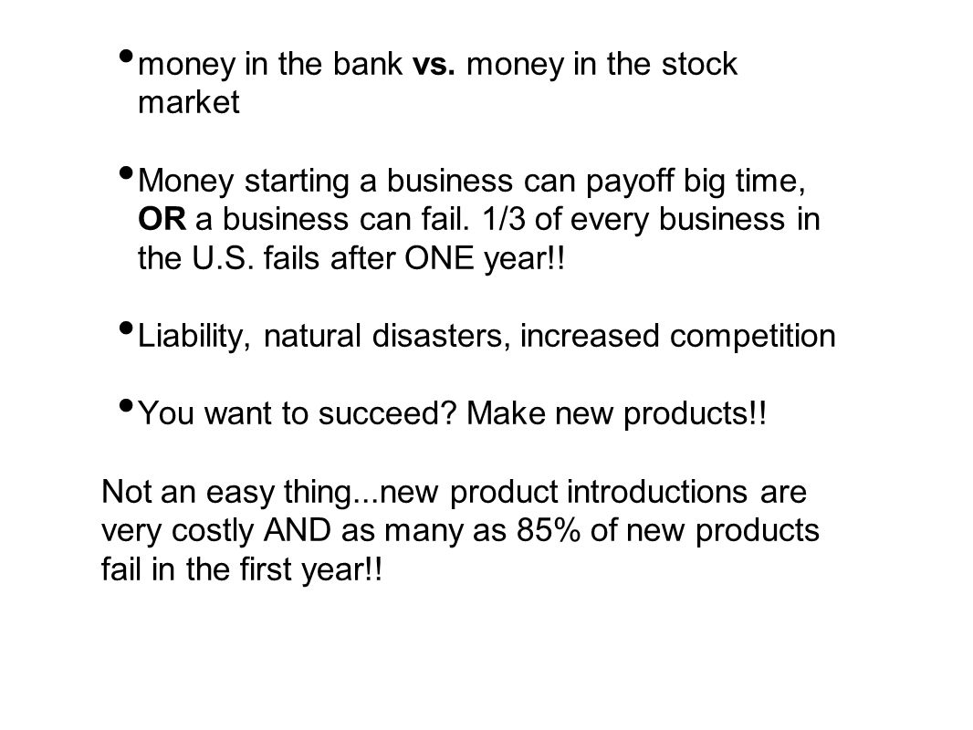 money in the bank vs. money in the stock market