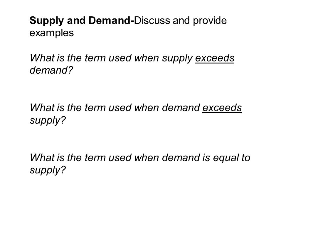 Supply and Demand-Discuss and provide examples