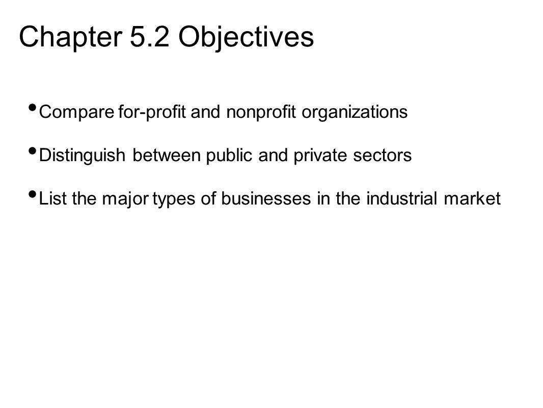 Chapter 5.2 Objectives Compare for-profit and nonprofit organizations